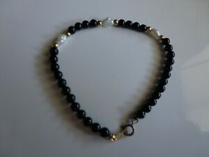 14KT GOLD BLACK ONYX & BAROQUE PEARL BEAD 6 GOLD BALLS BRACELET almost 7 inches