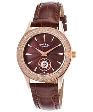 Reloj de Cuarzo Rotary Mujer Esfera Marrón Y Marrón Cuero Banda LS02907/16