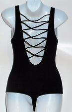 Victoria's Secret Pink High-Neck & Open Low Strappy Back Bodysuit Black XS NWT