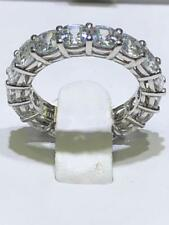 Platinum Sterling Silver Pave White Sapphire Shared Prong Eternity Band Ring Sz7