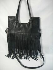 MADDEN GIRL Black Faux Leather Boho Convertible Bag With Fringe