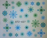 Nail Art Water Decals Stickers Christmas Blue Green Snowflakes Gel Polish 427BG