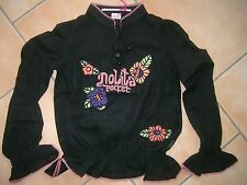 (148) Nolita Pocket Girls langarm Bluse Wolle mit Logo & Blumen Stickerei gr.164