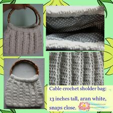 Crochet cablestitch purse  handmade aran white Bamboo handle over the sholder