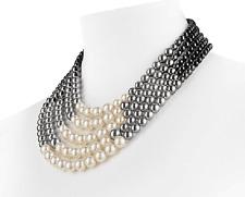 5 row 4-9mm natural Australia south sea white gray black round pearl necklace