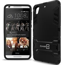 for HTC Desire 626 / 626S Case Armor Kickstand Slim Hard Cover Black / Black