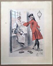 Lithographie Originale Louis Vallet Scène Galante Costume XVIIIe Humour Chat