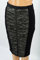 KAREN MILLEN BLACK STRETCHY PENCIL WIGGLE SKIRT with ROUCHED FRONT PANEL SIZE 8