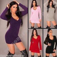 Jumper Long Sweater Tops Ladies Women V Neck Knitted Tunic Mini Dress size S M L