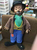 """VINTAGE EMMETT KELLY WEARY WILLIE THE CLOWN DOLL 20"""" TALL WITH HAT SHIPS FREE!"""