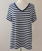 Large LuLaRoe Top Christy V-neck Tee White Navy Blue Stripes NWT 39