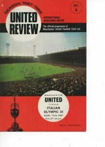 Manchester United v Italian Olympic XI 1967/68 Challenge Match with Token