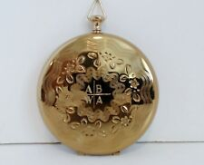 Sofia by Zell Powder Compact Pocket Watch Style Engraved Gold Signed Puff Mirror