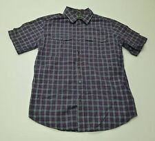 Mens Size Medium Pink & Blue Checkered Button Front Shirt Great Condition