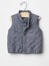 GAP Baby / Toddler Boy 18-24 Months Jersey-Lined Blue Chambray Denim Puffer Vest