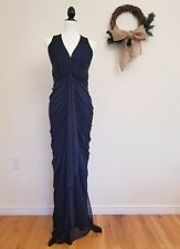 JS COLLECTION Grecian Matte Jersey Draped Halter Gown, Navy