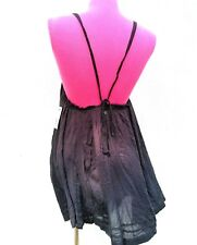 New BILLABONG Womens Strappy Halter Dress Embroidered Gauzy Cotton Brown Sz.XS