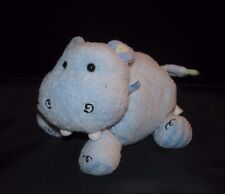 CARTERS Baby Plush Blue Hippo with Bow and Jingle Rattle Striped Belly