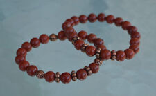 Red Jasper Wrist Mala Beads Healing Bracelet - For Courage Determination Rejuven