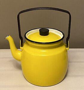 RARE Kaj Franck FINEL YELLOW Enamel Modern Mid Century Finland Teapot/Kettle MCM
