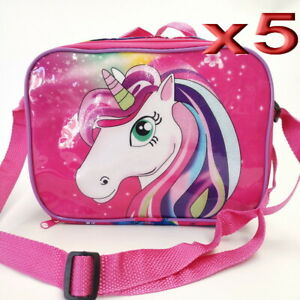 5pc Wholesale Kids Girls Unicorn Picnic School Insulated Lunch Bags