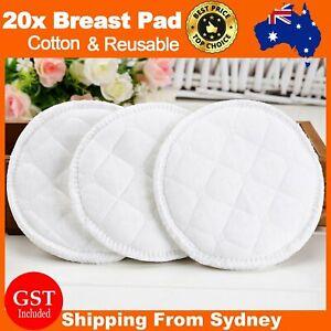 20X Bamboo Cotton Reusable Breast Pad Nursing Organic Plain Washable Pads White