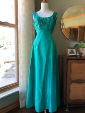 50s Dress Will Steinman Teal Green Silk Beaded Gown Early 1960s Vintage Cocktail