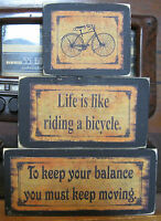 Life is Like Riding Bicycle Primitive Rustic Stacking Blocks Wooden Sign 3pc Set
