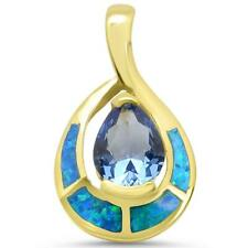 Yellow Gold Plated Blue Opal & Tanzanite Design .925 Sterling Silver Pendant