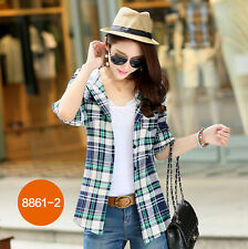 Fashion Womens Button Down Hooded Lapel Shirt Cotton Plaids & Checks Tops Blouse