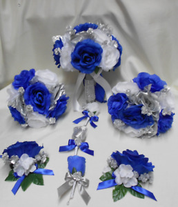 18 Piece Package Silk Flower Wedding Bridal Bouquet Royal Blue Silver White