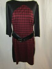 DANNY & NICOLE Red and Black Dress with Belt - Size 12 NWT