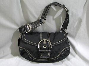 COACH SIGNATURE C LARGE BUCKLE BLACK SHOULDER PURSE BAG 10603