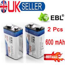EBL 2 Pack 600mAh 9V 6F22 Battery 9 Volt PP3 Block Li-ion Rechargeable Batteries
