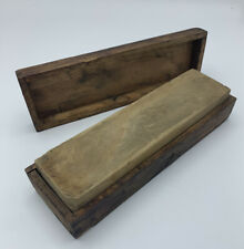 Vintage Whetstone Oil Stone Knife Sharpener Tool, Wood Base & Box Cover Antique