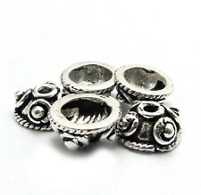 40 PCS 7X4MM SOLID COPPER BALI BEAD CAP OXIDIZED STERLING SILVER PLATED  513