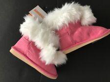 Gymboree NWT COZY CUTIE Pink Faux Fur Suede Pom Boots Shoes 5 6 8 12 18 24 2T 3T
