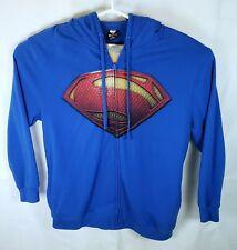 Mens SUPERMAN HOODIE Full Zip Zipper Cotton Blend Pockets 2X Large