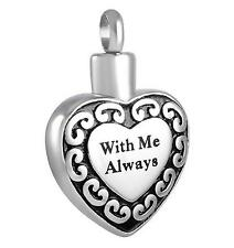 """""""With Me Always Heart"""" Cremation Urn Jewelry Stainless Steel Pendant..."""