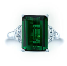 Emerald Cut Green Tourmaline Diamond Ring 14K White Gold Cocktail Engagement