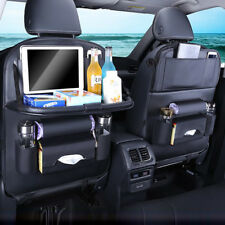 Leather Car Seat Back Organiser Storage Bag with Tray Foldable Table iPad Holder
