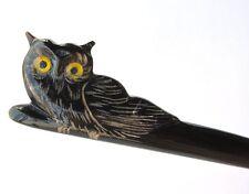 Marycrafts Black Owl Buffalo Horn Hair Stick, Hairstick, Hair Pin, Hairpin, Hair