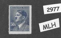 MLH Stamp / Adolph Hitler / 1942 Third Reich 50 Koruna / WWII German Occupation