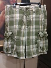 Abercrombie Fitch Men Shorts Size 34 cargo button fly green plaid drawstring