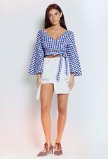 0062dd87c48 Blue Gingham Wrap Top Blouse Kimono Sleeve Summer For Love & Lemons Revolve  S