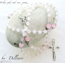 More details for ✫white jade and rose quartz✫ handcrafted gemstone rosary 6mm