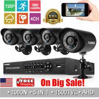 4CH 1080P CCTV DVR System HDMI Home Outdoor 1500TVL Camera Security IR Night Kit