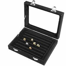 Lavcus Earring Storage Case 7 Slots Ring Velvet Display Case Box Earring Ring