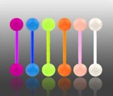 Lot 6 x Flexi Glow In The Dark Tongue Bars Piercing Flexible Bar Tounge Nipple