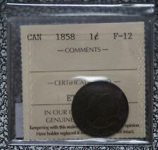 1858 CANADA - 1 CENT - LARGE CENT - ICCS Graded F 12 - Victoria - Nice - NCC